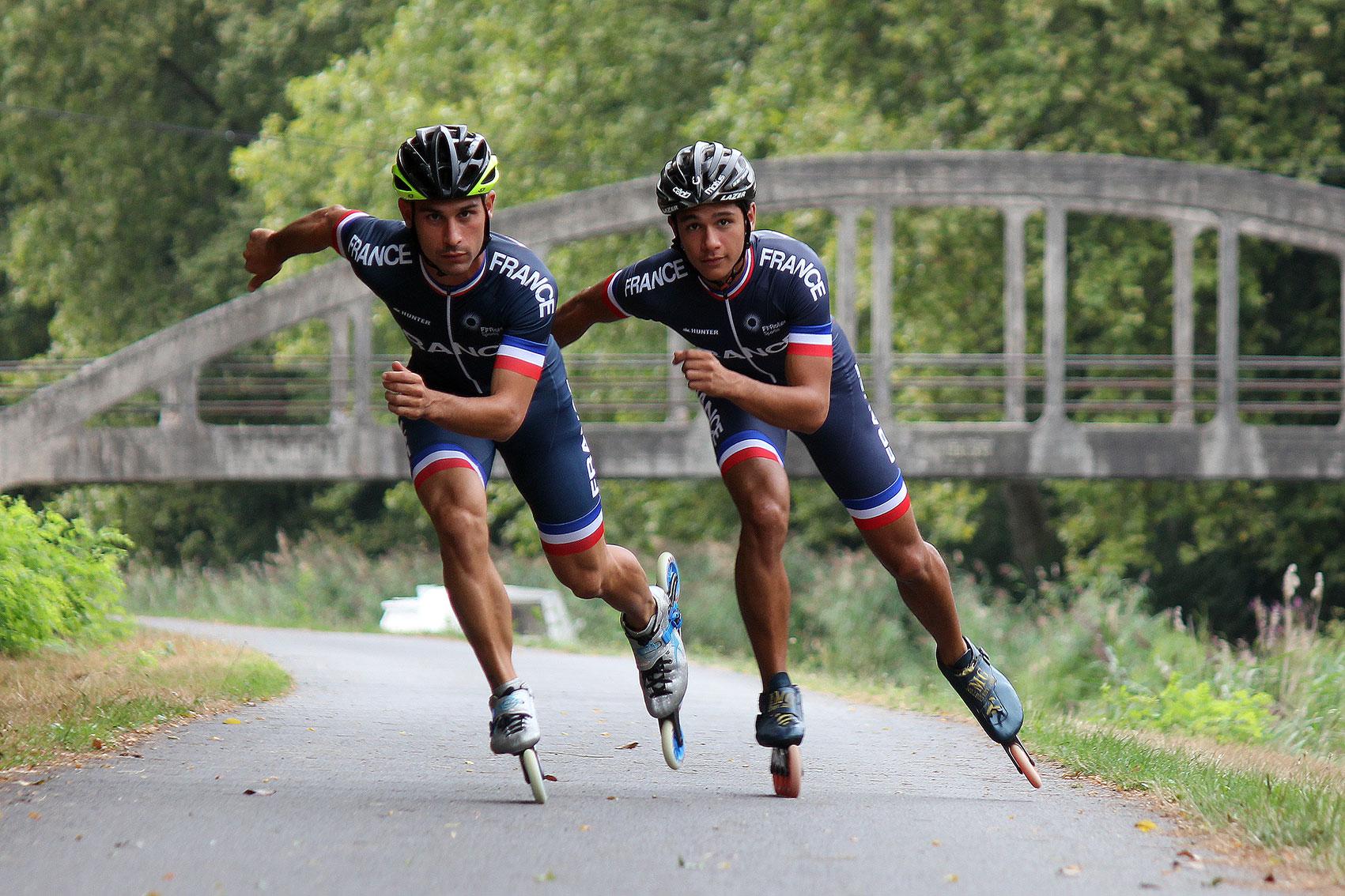 Photographe événementiel et reportages professionnels hommes de l'équipe de france de roller de vitesse champions de france