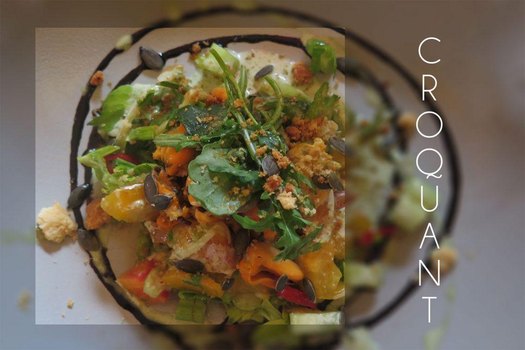 photo en couleur d'une salade composée par philippe Labrousse, chef du restaurant aux fontaines à la réole, prix d'un shooting entreprise langon